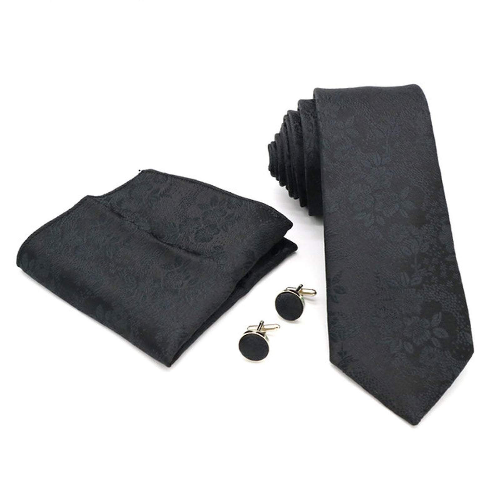 Black floral three piece tie cuff link & pocket square