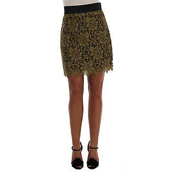 Dolce & Gabbana Green Macrame Lace Skirt