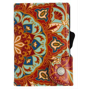C-Secure Arabica Print Single Card Holder Wallet - Blue/Orange