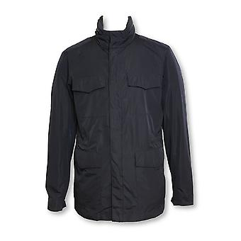 Armani Collezioni lightweight raincoat in navy with concealed hood