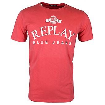 Replay Round Neck Geprint rood T-shirt