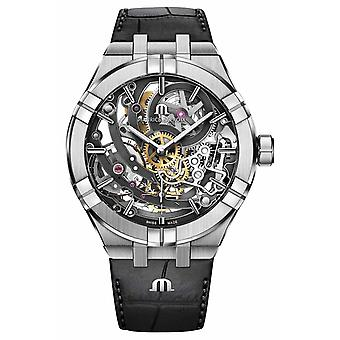 Maurice Lacroix Aikon Mens Automatic Skeleton Black Leather Strap AI6028-SS001-030-1 Watch