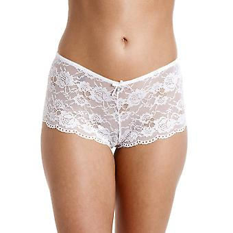 Camille White Lace Lingerie Bow Franse Knickers kant Boxershorts