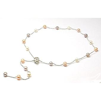 TOC Spherical Bleached White and Dyed Peach and Thistle Freshwater Cultured Necklace 20-quot;