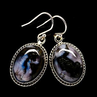 "Gabbro Stone Earrings 1 3/8"" (925 Sterling Silver)  - Handmade Boho Vintage Jewelry EARR399603"