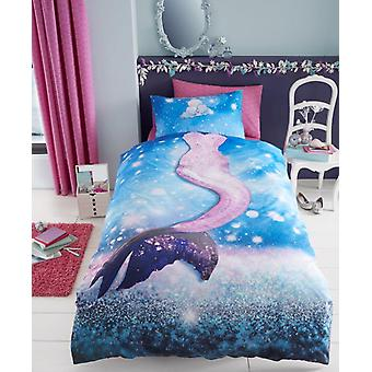 Mermaid Selfie Girls Kids Single Duvet Quilt Cover Children Bedding Set