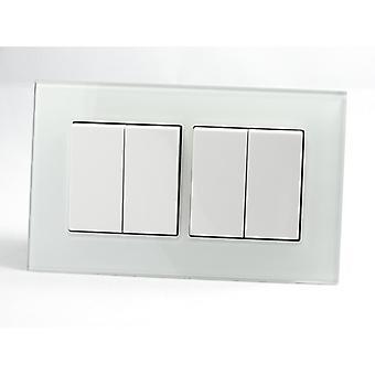 Ich LumoS AS Luxus weißem Kristallglas Doppelrahmen 4 Gang 2 Weg Rocker Lichtschalter