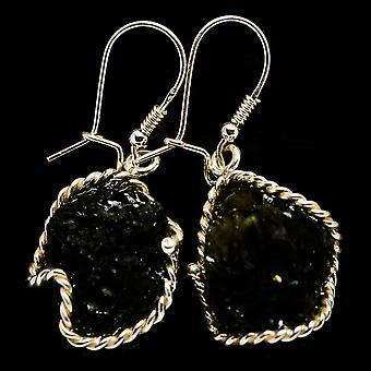 """Czech Moldavite Earrings 1 3/4"""" (925 Sterling Silver)  - Handmade Boho Vintage Jewelry EARR400221"""