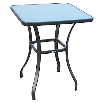 Outsunny Bar Table Bistro Square Glass Dining Kitchen Breakfast Pub Party Metal Garden Café Coffee Table Patio