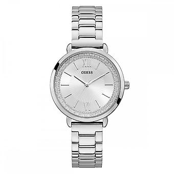 Guess Watches Guess Ladies Silver Watch White Face  W1231L1
