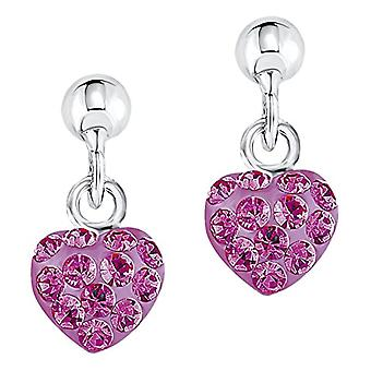 Amor Child 925 Silver Pink Crystal FINEEARRING