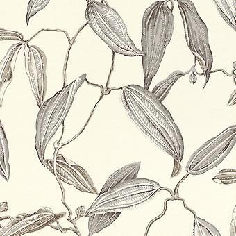 Vanity Fair Metal Leaf Print Wallpaper Cream/Grey Rasch 525717