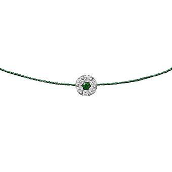 Choker Δούκισσα Σμαράγδι 18K χρυσό και διαμάντια, για Thread - Λευκό ς Χρυσός, Σμαράγδι