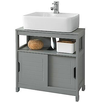 SoBuy Unterspüle Badezimmer Aufbewahrungsschrank mit Regal und Doppel-Schiebetür, FRG128-SG