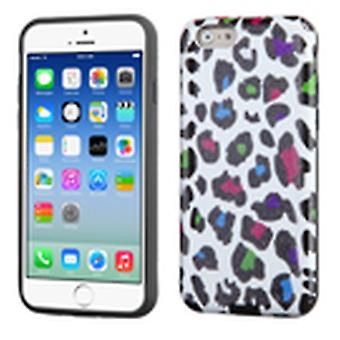Asmyna Advanced Armor Case for iPhone 6/6S - Colorful Leopard Skin Glittering/Black