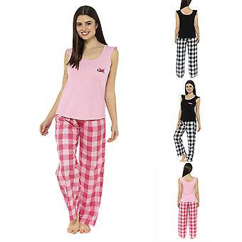 Jersery Ruffle Top With Check Pants Pyjama Set