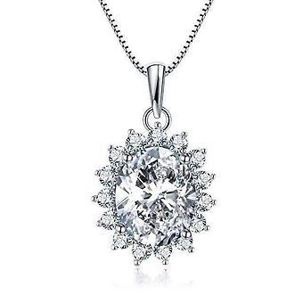 Orchide 4ct oval floral halo iobi lab created diamond pendant