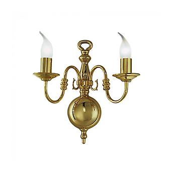 Designer Wall Light In Polished Brass Delft 2 Bulbs