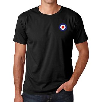 RAF Air Force Roundel Embroidered Logo - Ringspun Cotton T Shirt