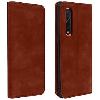 Protective Case Oppo Find X2 Pro Genuine Leather Cardholder Video Holder Brown