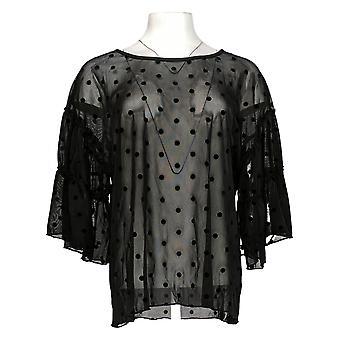 Masseys Women's Top Sheer Ruffle Sleeve Top Polka Dot Black