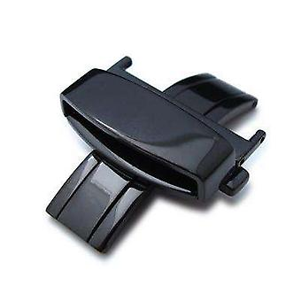 Strapcode watch clasp 24mm deployant buckle / clasp, pvd black(polish) stainless steel with release button