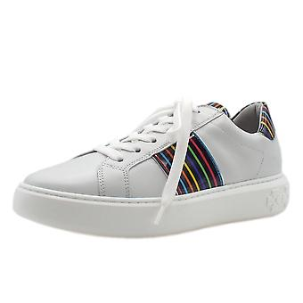 Peter Kaiser Ilena Leather Modern Lace Up Sneakers In White Multi