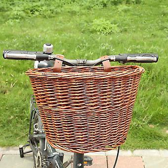 Fahrrad & Fahrrad Front Aufbewahrungskorb mit Ledergürtel - handgemachte natürliche Rattan Cargo Container