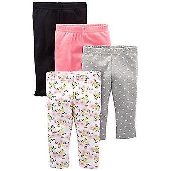 Bucurii simple de Carterăs Baby Girlsă 4-Pack Pant, Navy, Gray Dot, Pink, Floral, 12 Luni