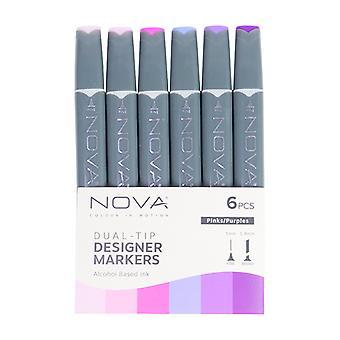 Trimcraft Nova Sketch Markers Purples/ Pinks (6pcs) (NOV006)