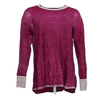 LOGO door Lori Goldstein Women's Sweater Distressed Berry Pink A377213