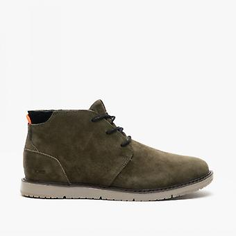 TOMS Navi Mens Leather Ankle Boots Olive