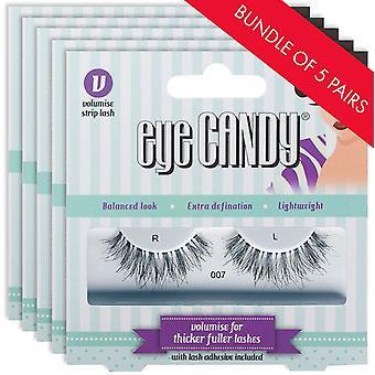 Eye Candy 50's Style False Eyelashes - 007 Fake Lashes - 5 Pairs with Lash Glue