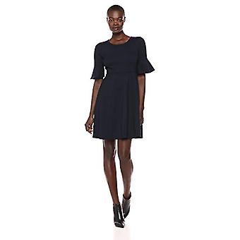 Lark & Ro Women's Ruffle Sleeve Fit and Flare Dress, Navy, 8