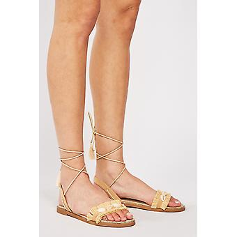 Sandalias planas Seashell Tie Up