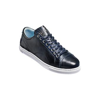 Barker Ethan - Navy Hand Painted  | Mens Handmade Leather Sneakers | Barker Shoes