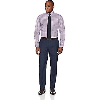 """BUTTONED DOWN Men's Classic Fit Button Collar Pattern Non-Iron Dress Shirt, Red/Blue Large Plaid, 17"""" Neck 34"""" Sleeve"""