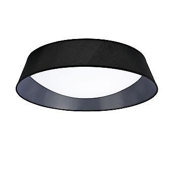 Flush Ceiling, 9 Light E27, Cylindrical 90cm, White Acrylic with Black Shade