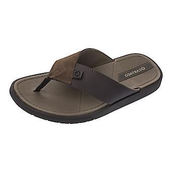 Cartago Valencia Mens Beach Flip Flops / Sandals - Dark Brown