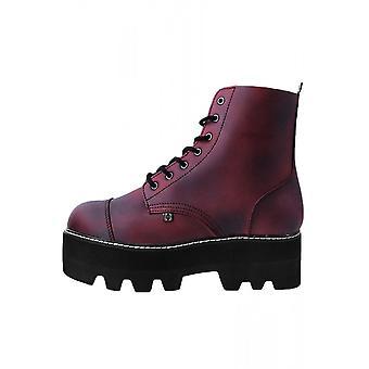 TUK Shoes Burgundy 7-Eyelet Dino Lug Stacked Sole Boot