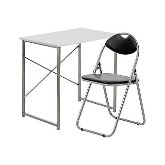 2 Piece Computer Desk and Chair Set - Small Home Office - Wooden Top - White/Black
