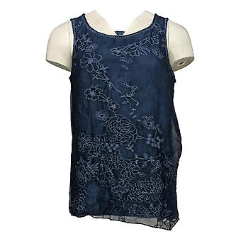 Curations Women's Top Floral Embroidered Tank Blue 688-954