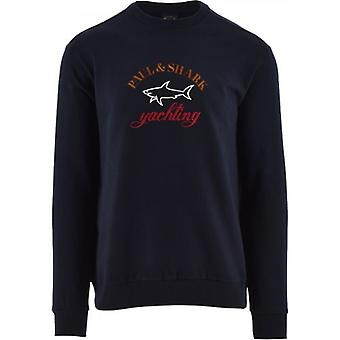 Paul & Shark Navy Fleece Three Colour Logo Sweatshirt