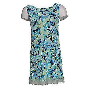 LOGO Layers par Lori Goldstein Women's Top Print Knit Tnk Lace Blue A346419