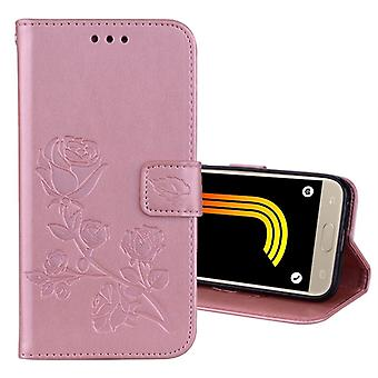 Pour Galaxy J3 (2017) / J330 (VERSION UE) Roses Pressed Flower Pattern Horizontal Flip Leather Case with Holder & Fentes de carte & Portefeuille (Or Rose)