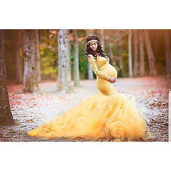 Cu mânecă lungă de maternitate Rochie Dantela Maxi Dress / gravide Femei Haine Fotografie