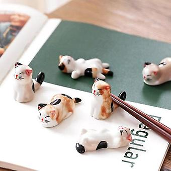 Cute Cat Shape Ceramic Chopsticks Holder