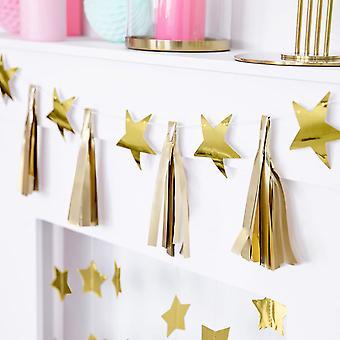 Gold Tassel and Star Garland - Christmas Wedding Decoration 2m
