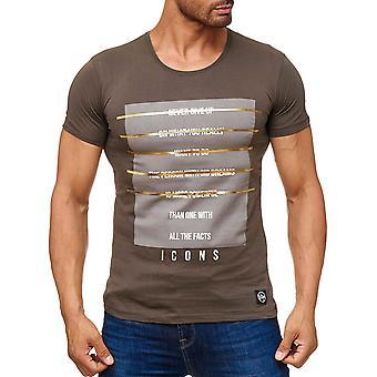 Motif de T-shirt hommes Print icônes or raidisseur court à manches longues chemise Club nouveau