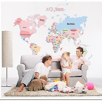 Adesivi da parete World Map Decor Adesivo Parete Decalcomanie Camere Educative